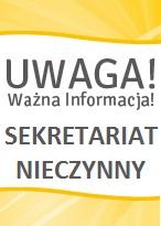 Sekretariat nieczynny 13 i 14.04. 2017